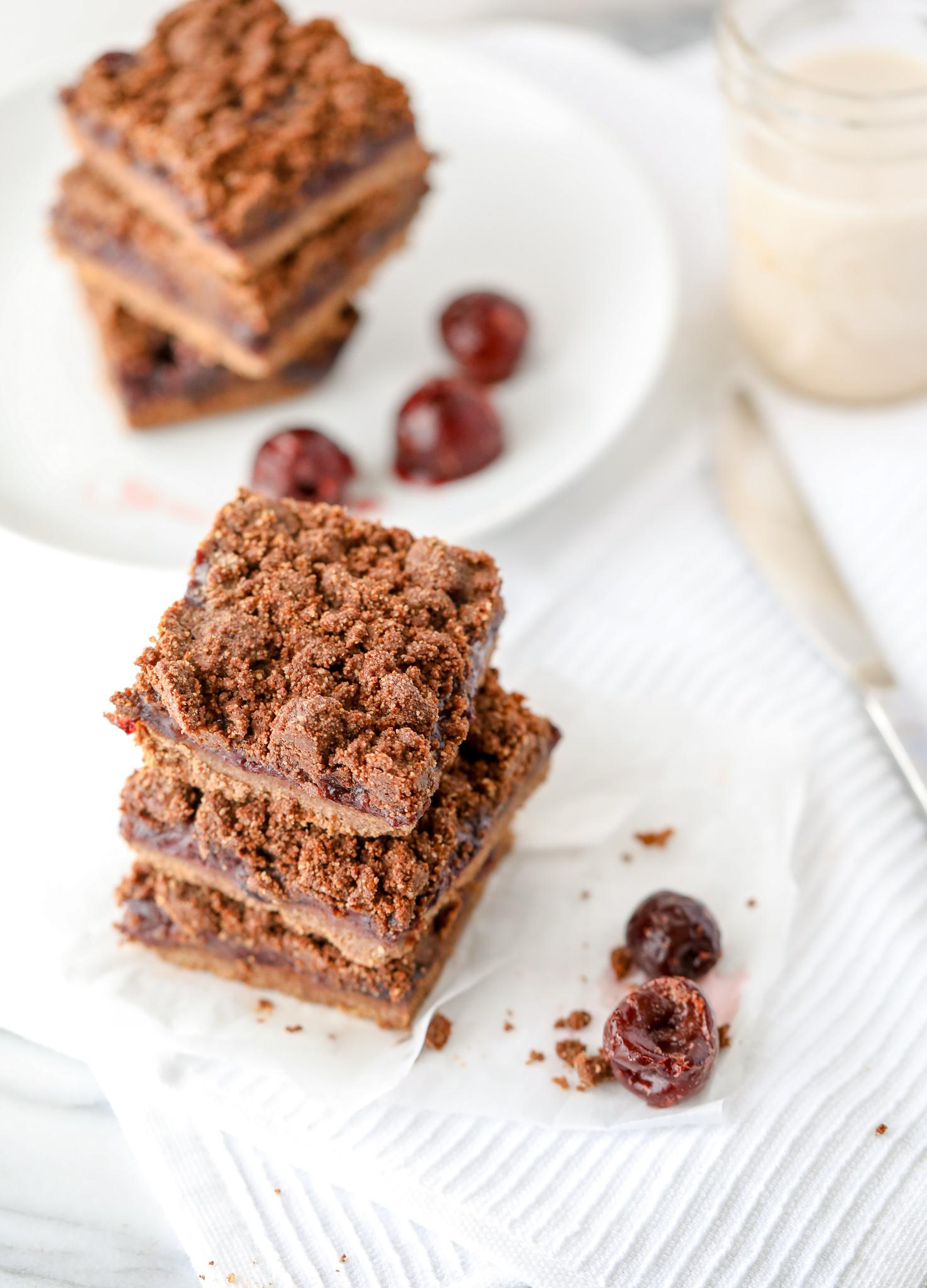 Healthy Chocolate-Cherry Crumble Bars (Grain-free, Dairy-free)