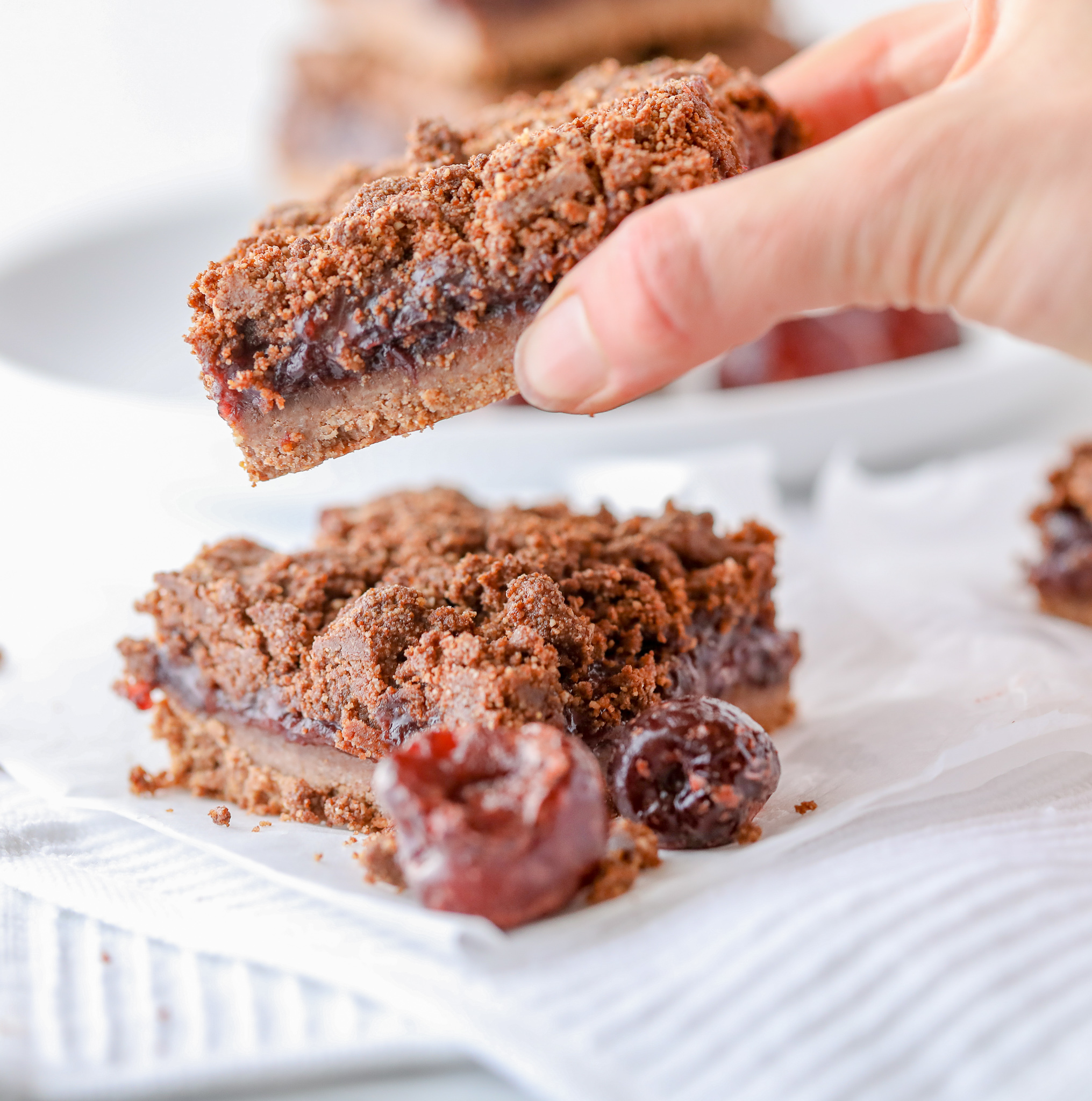 Healthy Cherry-Chocolate Crumble Bars (Grain-free, Dairy-free)