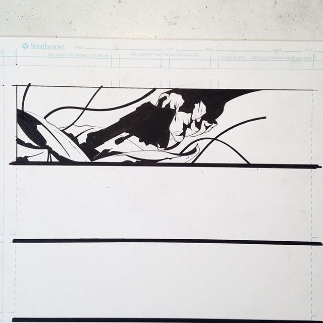 """So some real quick progress stuff for those who've asked. Script calls for a handgun being pulled out of a bag. I chose an old revolver because the character in question is older and not a soldier, just your average guy. Then I like to consider what's following in the page, the space I dictated to this panel etc. I sketch out the hand and pistol first and play around with position. I'm not drawing individual fingers or gun components just large shapes for placement. I'll refine later. I have an idea for how the bag will look but I'm not concerned about that yet. Leaving it open ended will allow me to plug holes in the composition/design later. At the end of the day I'm trying to convey a sense of mood, beauty, a moment if you will this isn't a big moment in the story overall but at the moment I'm working on it I want to make it as interesting and perfect as I can. """"Would this make a stand alone piece of art""""? Then inking I'm pretty simple pens, brushes, some crow quill work here and there and tooth brushes for splatter. Any questions feel free to hit me up.  #comicpage #comicpanel #illustration #comicillustration #comicprocess #artprocess #composition #drawinghands #wip"""