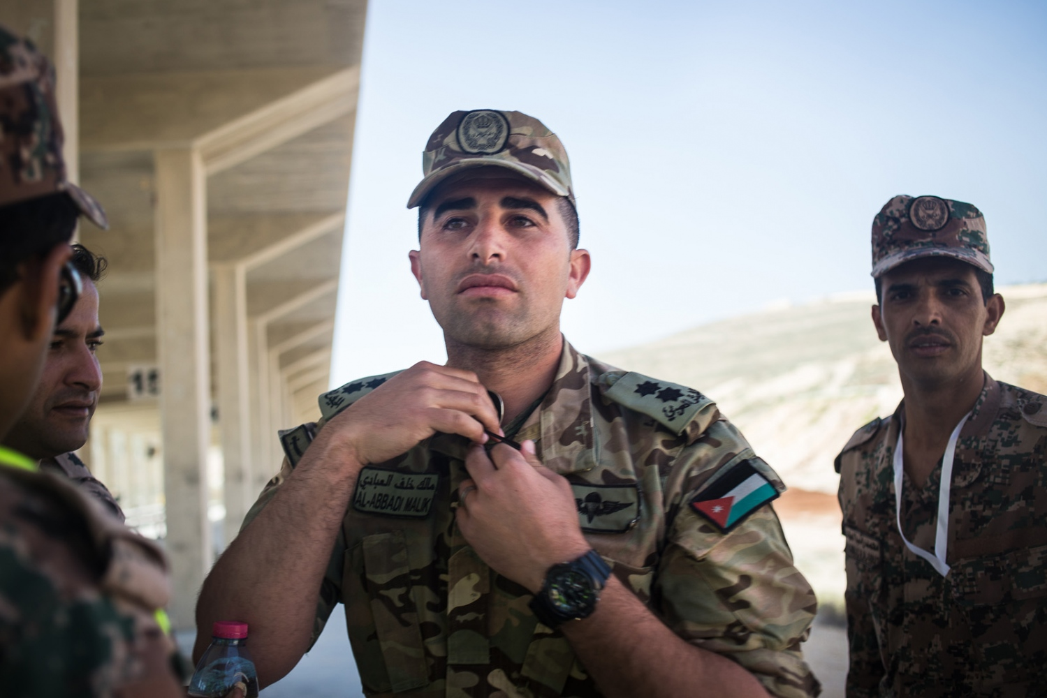 Commander Malik Al-Abbadi, leader of the Jordanian team, is photographed during the desert stress shoot at the seventh annual Warrior Competition at the King Abdullah II Special Operations Training Center near Amman, Jordan, on April 21, 2015.