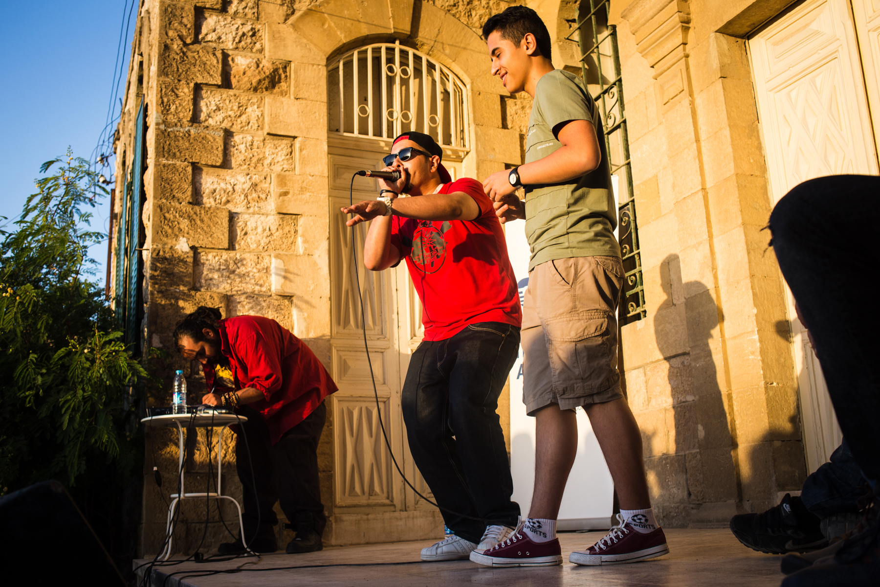 Fahad al-Huweian performs during King of the Beat, an annual beatboxing competition, on May 20, 2016 in Amman, Jordan.