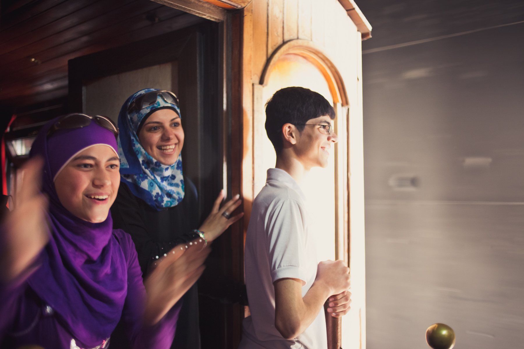 A family enjoys a rare ride on the old Hejaz Railway to Giza station, south of Amman, on May 6, 2011. The historic railway, built during the Ottoman Empire, once connected pilgrims traveling from Istanbul to Mecca in present-day Saudi Arabia.