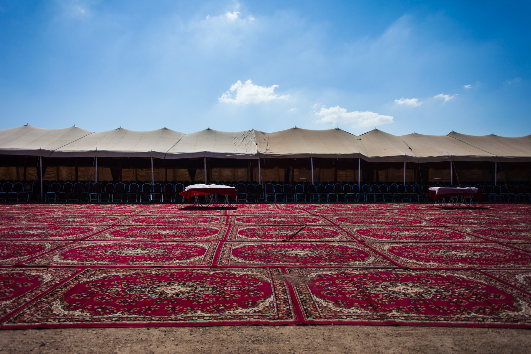 A political campaign rally tent is seen outside Karak, Jordan, on Sept. 3, 2016. Rather than hosting rallies in the streets, political events in Jordan are usually held in tents, while attendees are served coffee and listen to speeches by candidates.