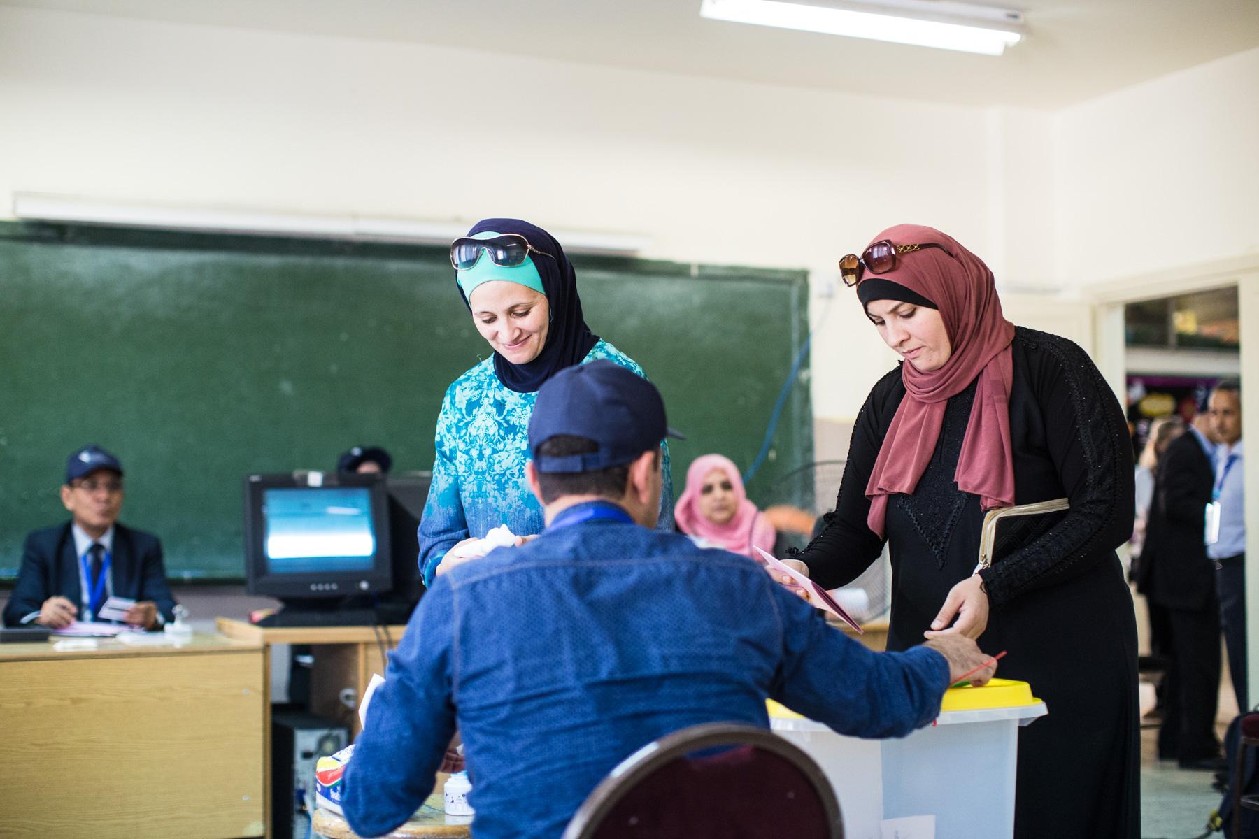 Women cast their ballots in Jordan's general elections on Sept. 20, 2016, in Amman, Jordan.