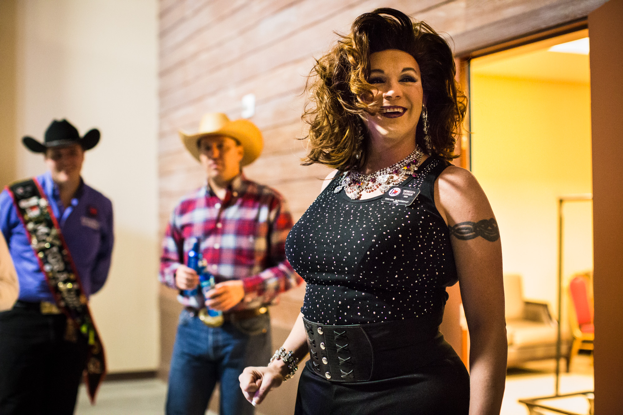 Rebecca Tucker, a contestant for Miss IGRA 2015, waits backstage before performing a song and dance as part of the Royalty Competition at the World Gay Rodeo Finals in Las Vegas, NV.