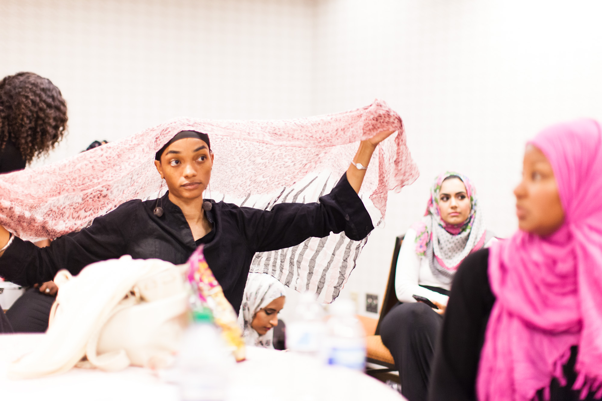 Reaching All HIV+ Muslims in America (RAHMA) hosted a fashion show in Washington, DC on Aug. 16, 2014. The clothing and accessories are all made by Muslim women designers from around the US. They specialize in creating modest fashion that complies with Islamic tradition.