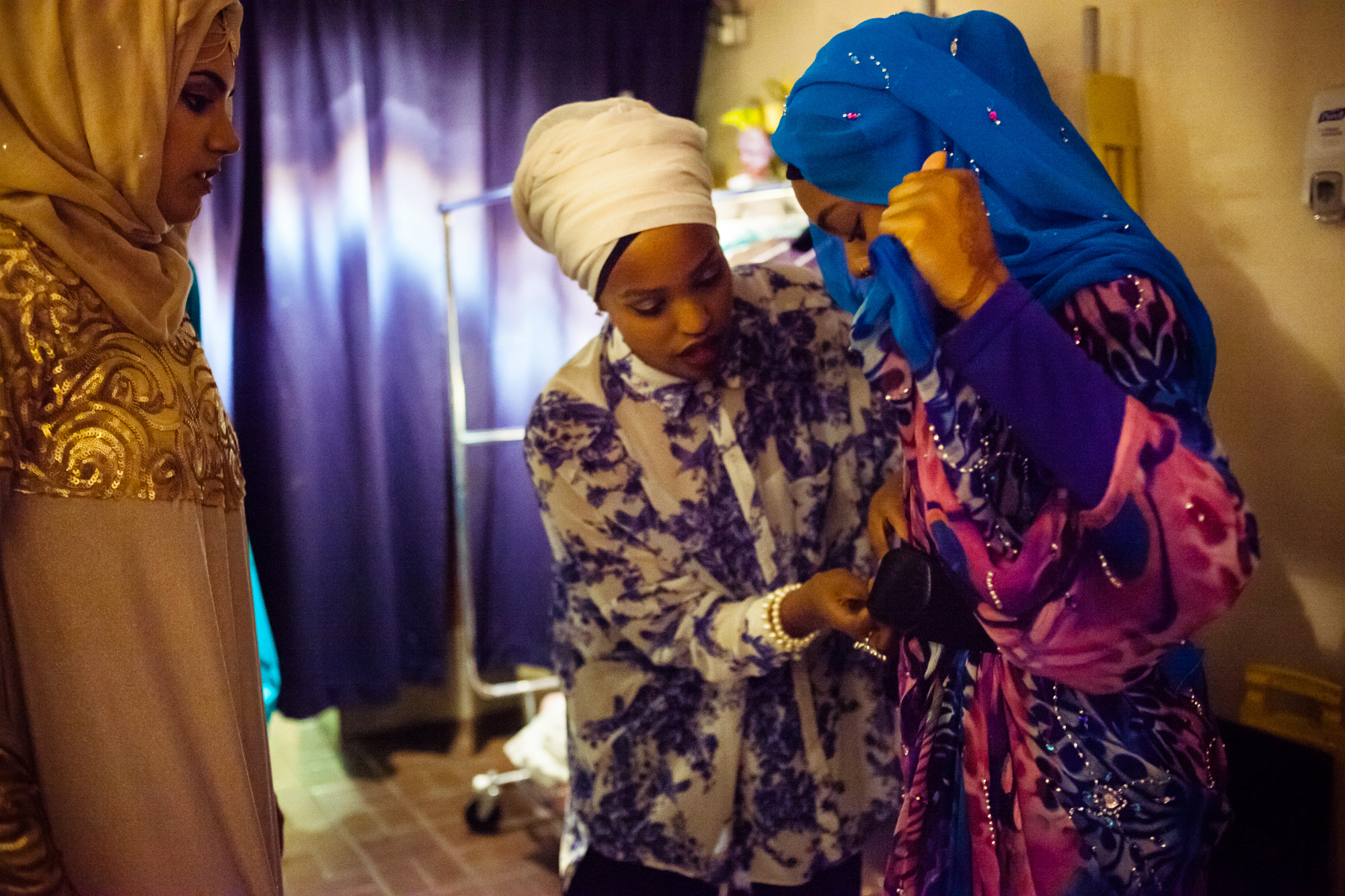 Fahima Abdul, designer. Reaching All HIV+ Muslims in America (RAHMA) hosted a fashion show in Washington, DC on Aug. 16, 2014. The clothing and accessories are all made by Muslim women designers from around the US. They specialize in creating modest fashion that complies with Islamic tradition.