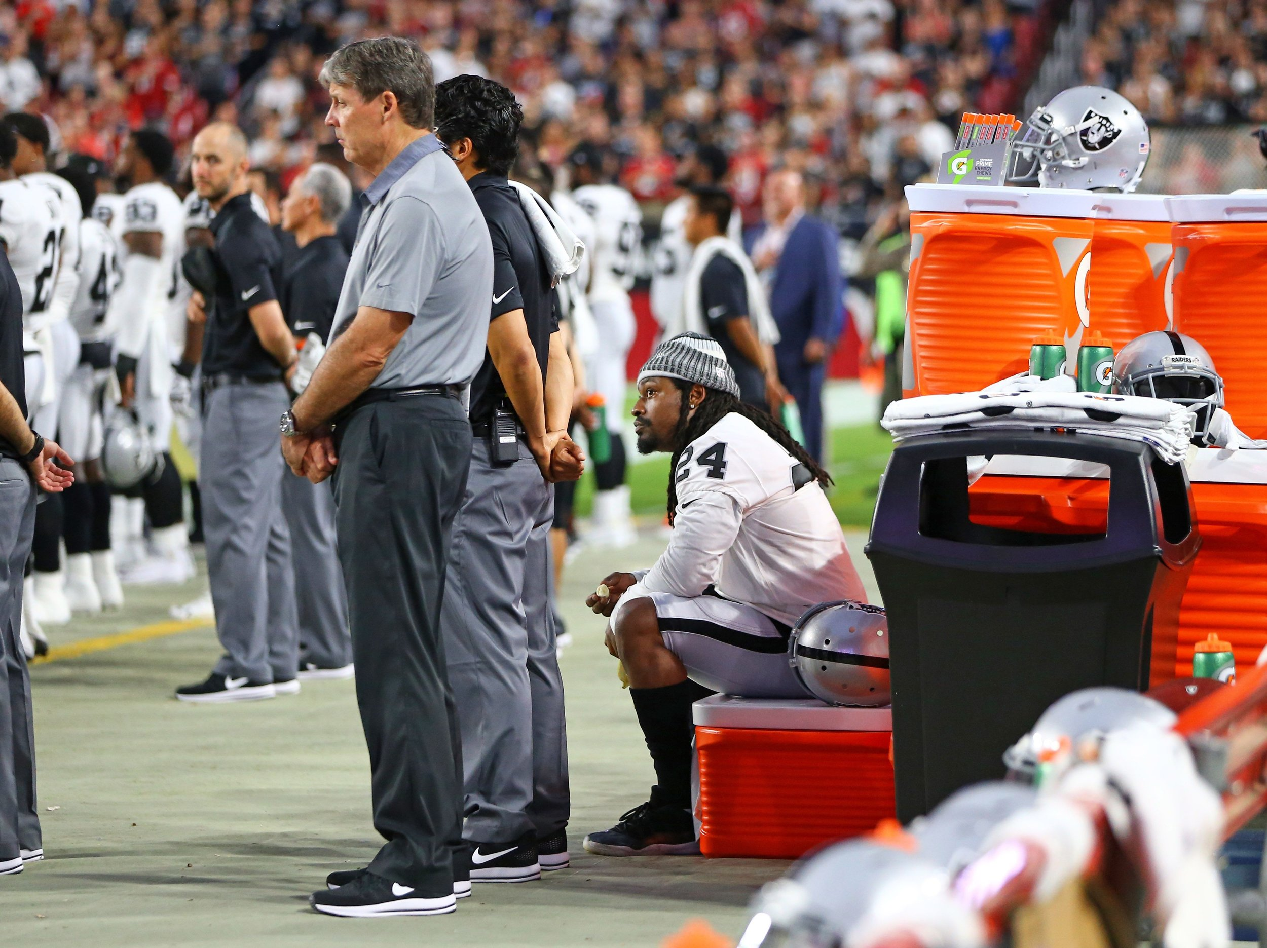 Marshawn Lynch has been among the large population of NFL players to stay seated for the National Anthem.