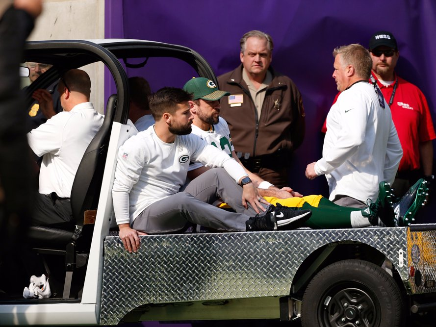 Aaron Rogers was carted off of the field Sunday after a tackle by Viking linebacker, Anthony Barr. (via Business Insider)