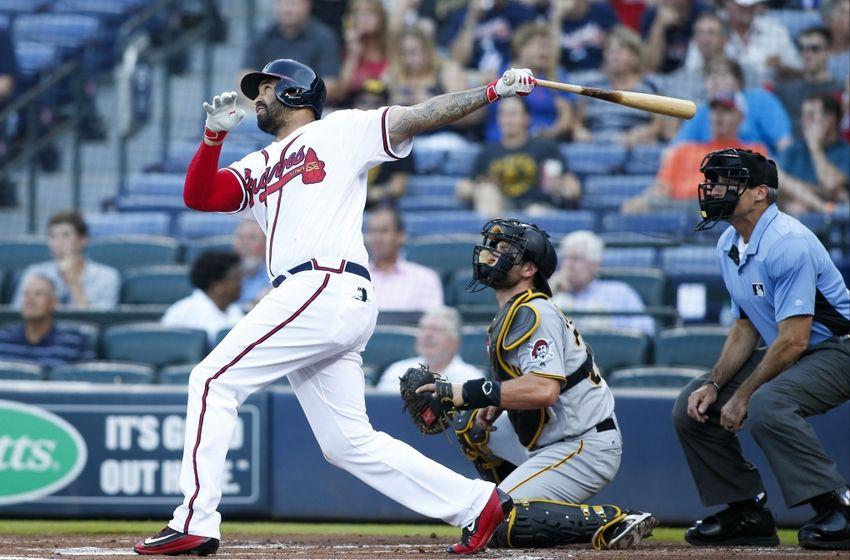 Matt Kemp connects on a pitch vs the Pirates. (Via LegendsOnDeck.com)