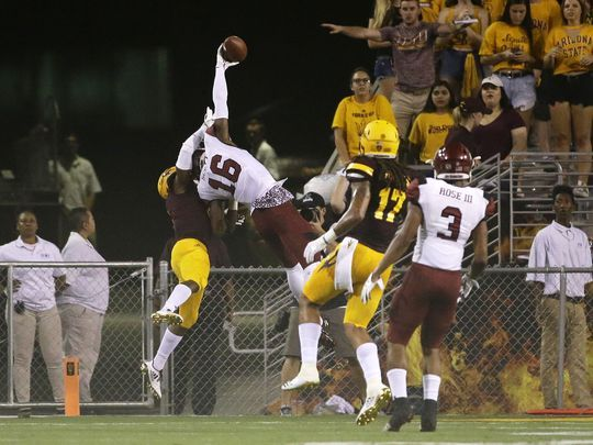 This year started off with something special! Jaleel Scott made an incredible one-handed catch against the Arizona State Sun Devils. (Via lcsun-news.com)