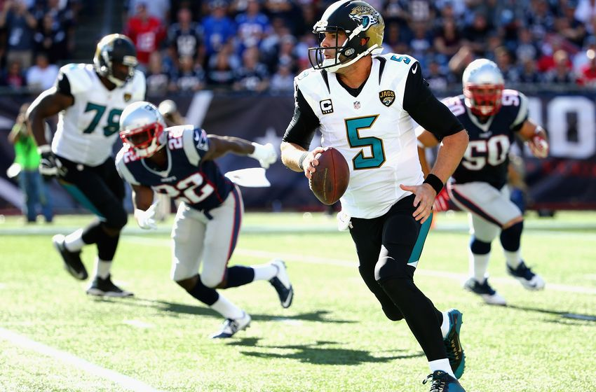 Blake Bortles will have his hands full this Sunday. (via blackandteal.com)
