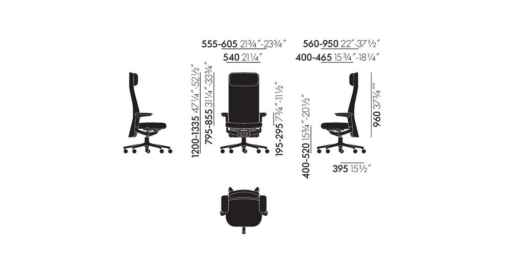 Pacific Chair with high-height upholstered backrest