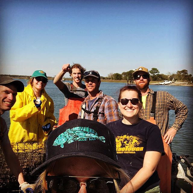 Applied Mariculture! Had a great day showing @cofc_mesprogram students how to air dry barnacles and spat off our oysters to keep them growing as beautiful, healthy, and sustainable salty singles! #education #tastetheperks #marshlife #cofc #students #scienceisdoing