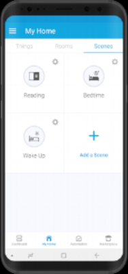 Set your Scenes - The newest SmartThings App feature is the introduction of scenes. Now you can define reusable light settings that control multiple lights.