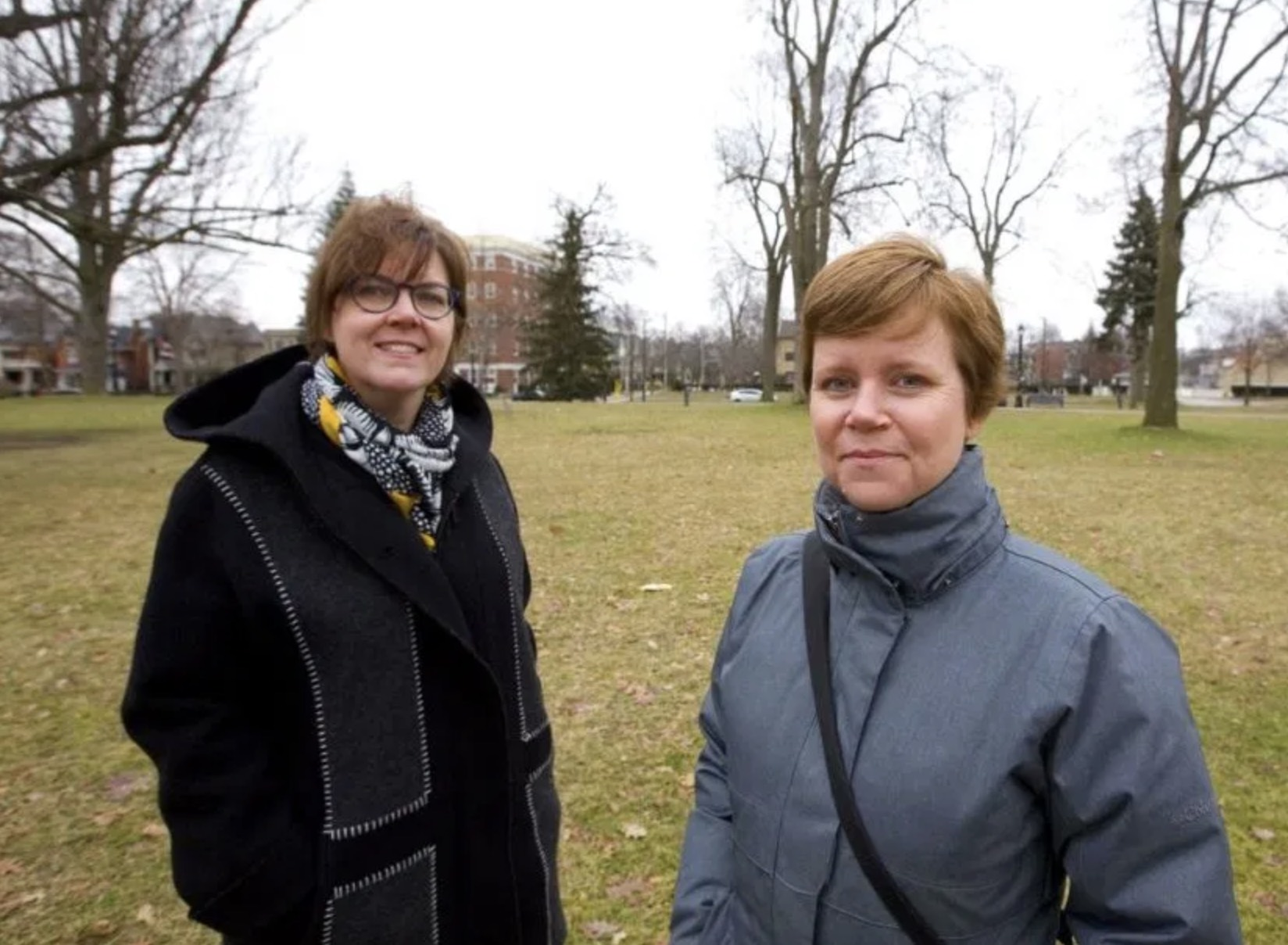 Kate Rapson, chair of the Woodfield Community Association, and Shawna Lewkowitz, president of the Urban League, want Londoners to speak up about the kind of development they could tolerate around Victoria Park. (   Mike Hensen/The London Free Press)
