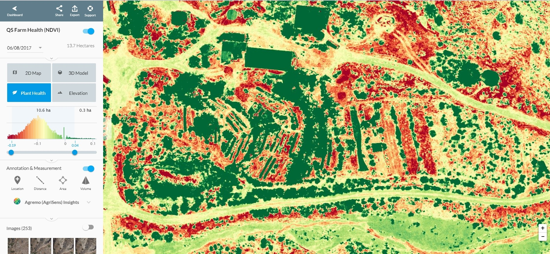 precision agriculture  - NDVI Plant Health Index, Plant Counting & Field Management