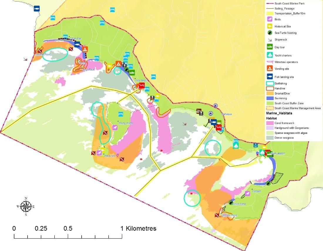 Marine Habitats, Resources & Space-uses       South Coast Marine Park, St. Vincent