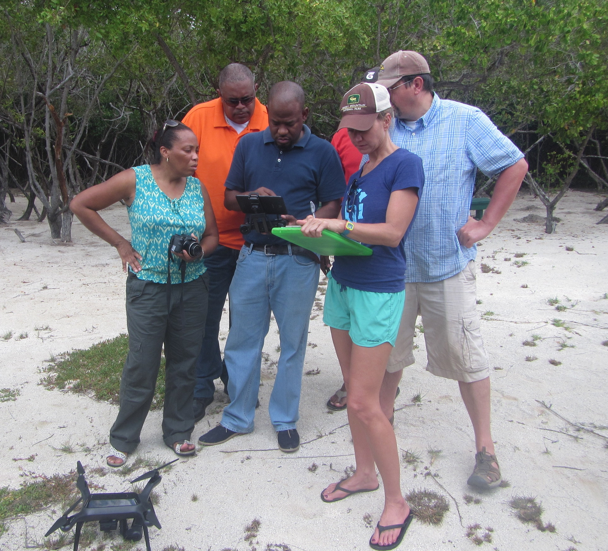 Students conducting UAV aerial mapping survey as part of a drone training course using a 3DR Solo in Antigua, Caribbean by Dr. Kim Baldwin of Marine Spatial Information Solutions (MarSIS).