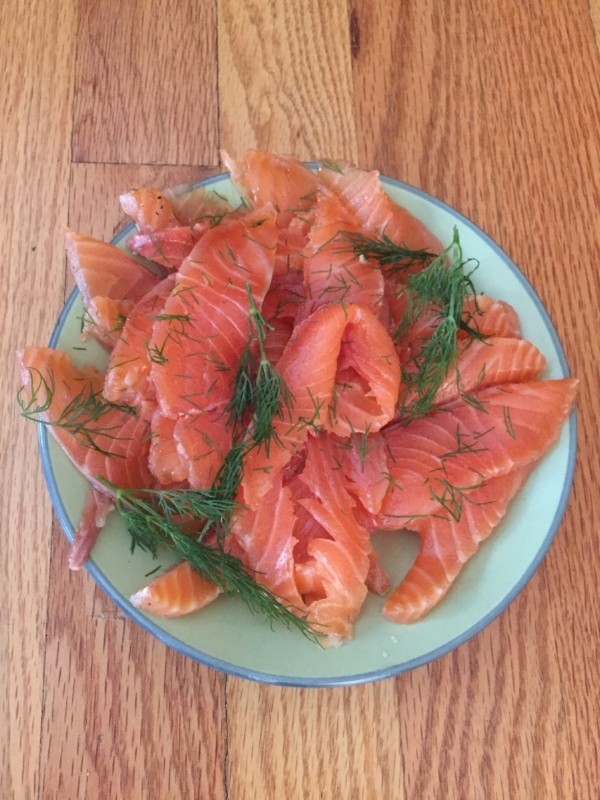 Gravlax : cured salmon just ready in time for the Christmas   smörgåsbord .