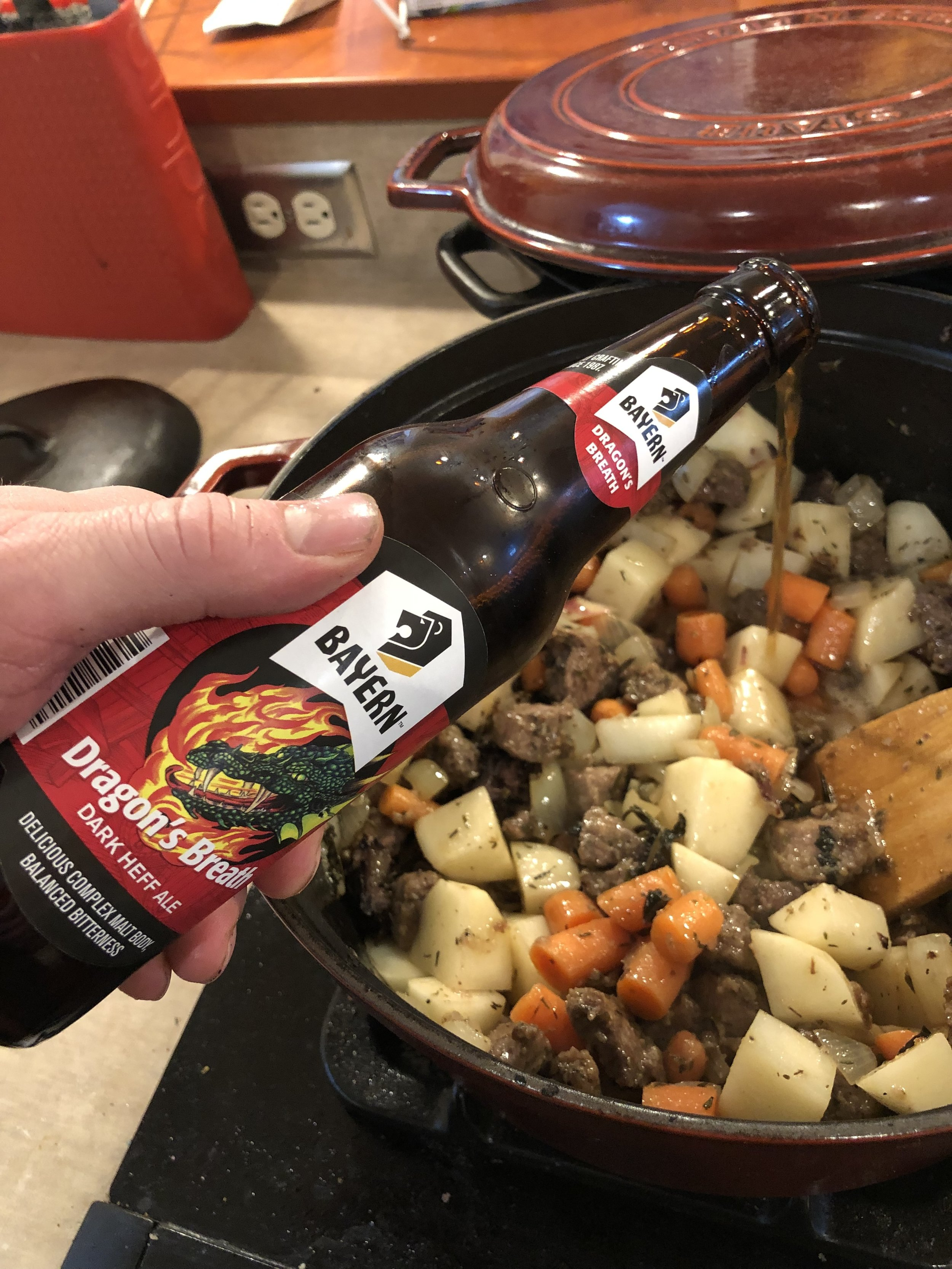 Dragon's Breath is perfect for braising as it gives a smooth and rich flavor without the bitterness from other dark beers.