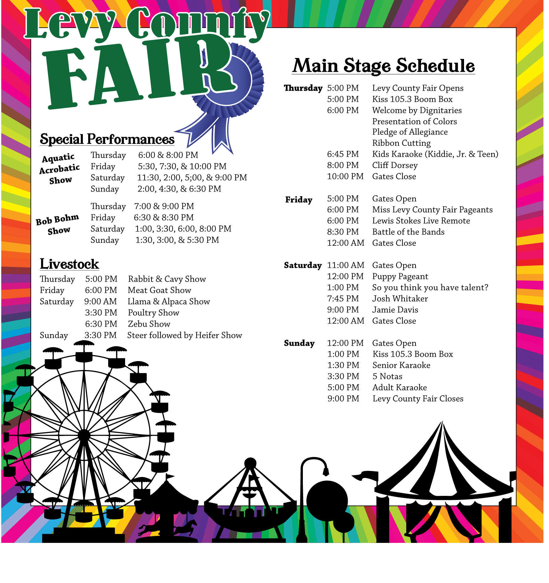 Schedule — Levy County Fair