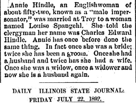 AnnieHindle_MarriageNotice_DailyIllinoisStateJournal_1892_07_22_DragKingHistory.jpg
