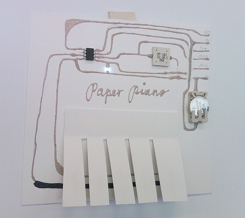 Paper Piano by  Hannah Perner-Wilson  ( image via High-Low Tech )