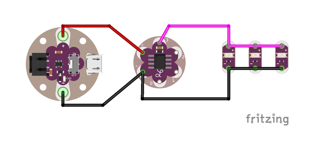 Fritzing diagram for the hardware hookup.