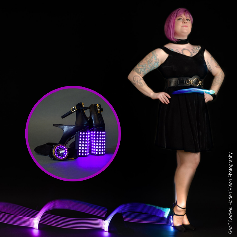 Insta-Hue LED Party Heels - Bluetooth-controlled color changing heels. Published in Make Magazine issue 63.