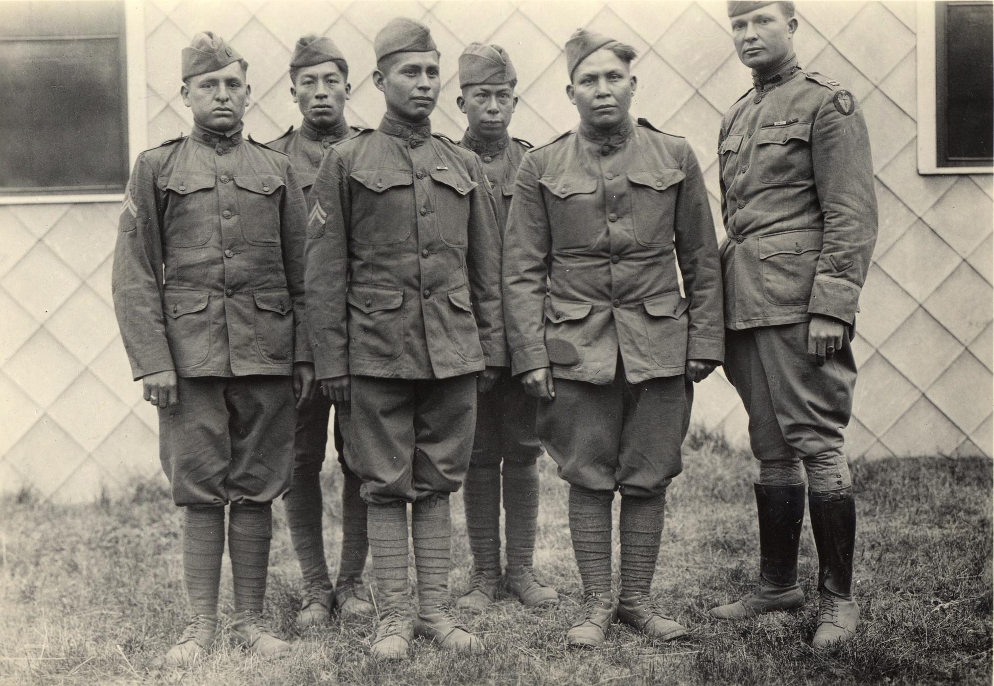 From L to R:Corp. Solomon Bond Louis, Mitchell Bobb, Calvin Wilson, Corp. James M.Edwards, Joseph Davenport,Capt.E.W.Horner (commanding officer)