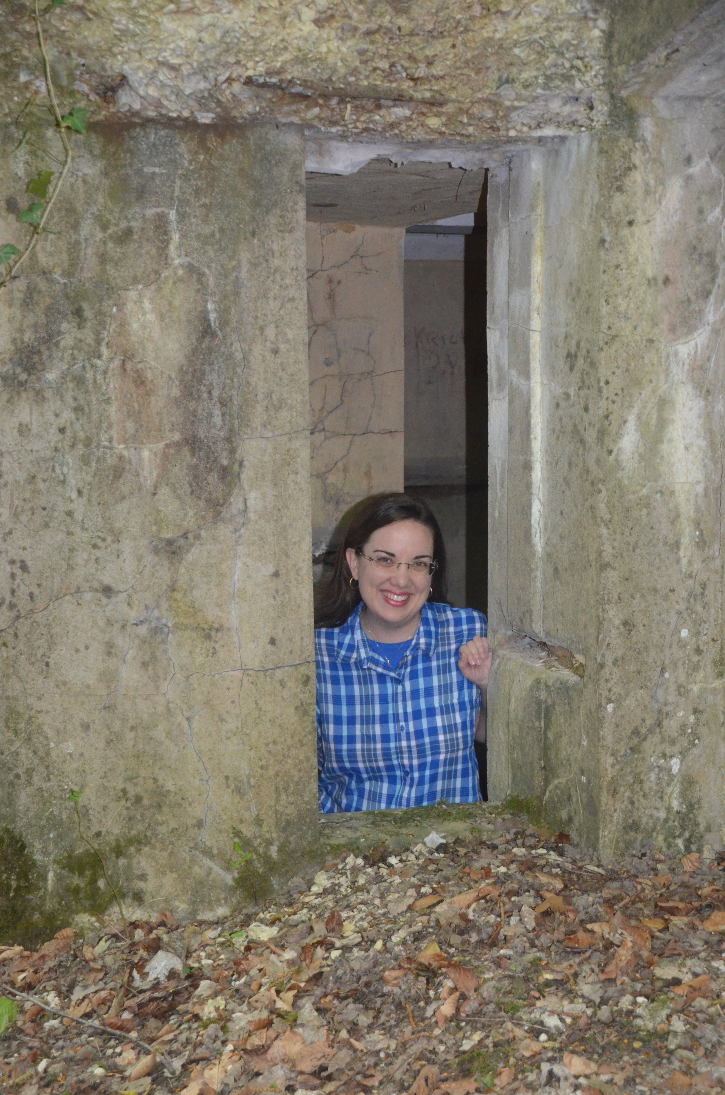 In a WWI German concrete bunker. France. Photo by Tiajuana Cochnauer.