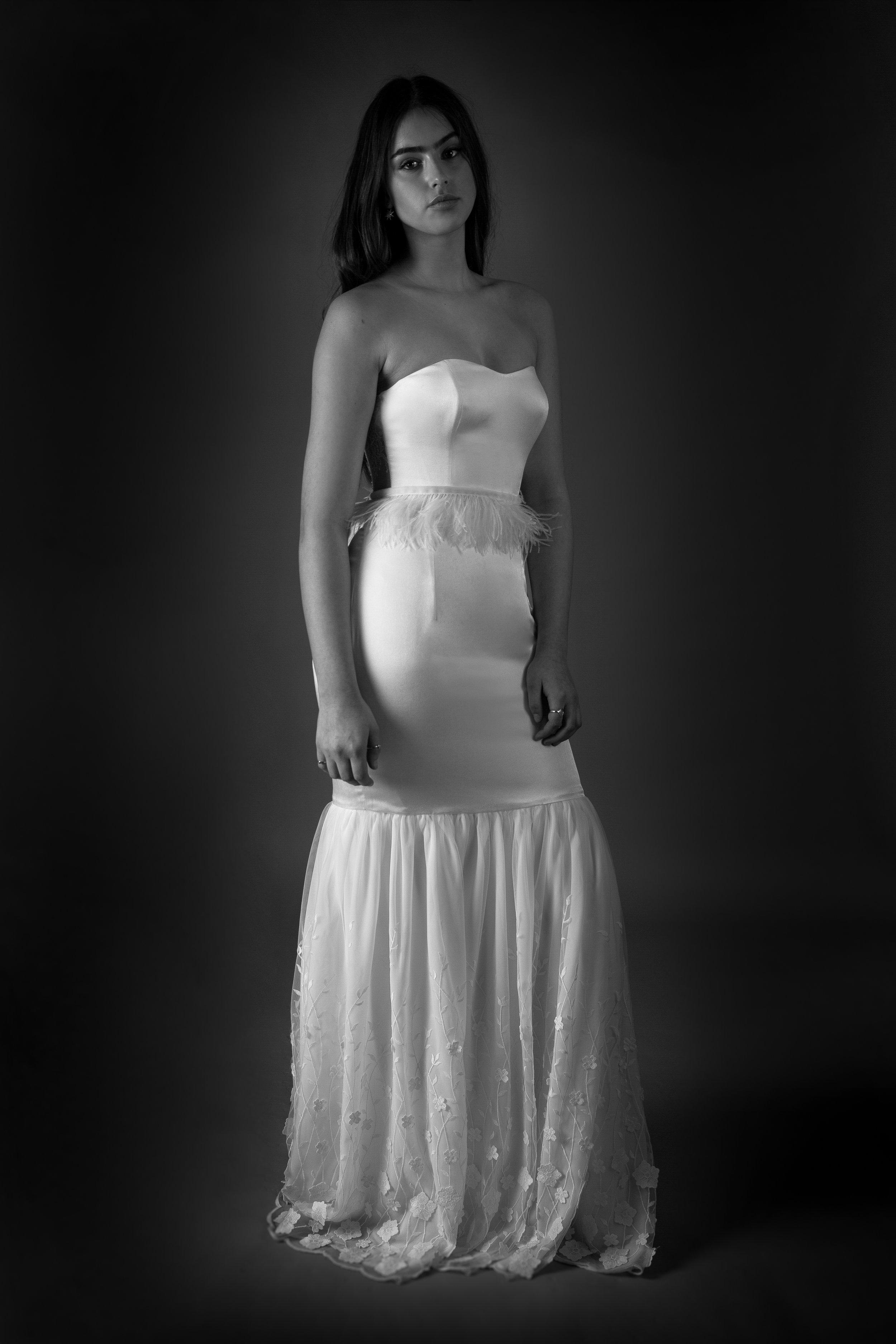 HENRIETTA DRESS WITH FEATHER BELT AND ROSALINE SKIRT