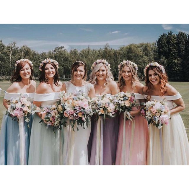 | 5 MAIDS |  Now this was one of my favourites! 5 beautiful ladies in need of bridesmaids dresses, Katie knew exactly what she wanted for them and based it on the edible candy necklace colours. Pastels it was. With their tea length tulle skirts all in different colours and the same ivory Bardot top the girls looked stunning! . . . . . . . . #bridesmaids #pastels #unique #oneofakind #skirt #top #tulle #multicolour #pink #blue #green #yellow #purple #madetomeasure #perfectfit #weddingday #girls #bridalparty #bridesmaiddress #inspo #candy #wedding #katiedell #bridalstyle #pretty #bridal #beautiful #instadaily #style #love