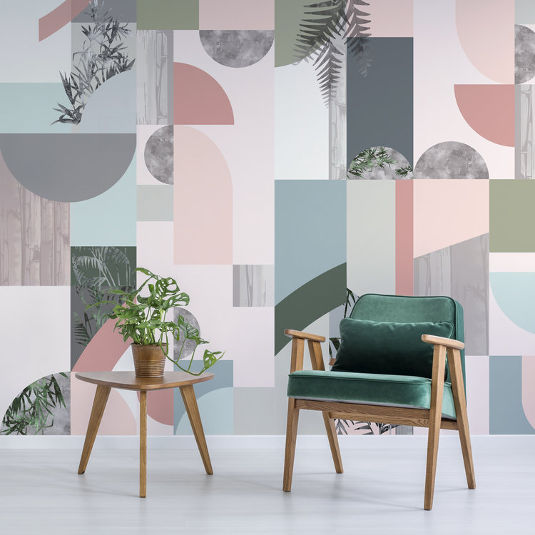 Design combination featuring Half Moon and Reflections Wallpapers.