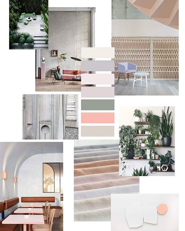 Airy colour combinations used for our Glasshouse Wallcovering collection. Inspired by clean architectural forms and fresh foliage inside glass houses 🌿 ________________________________________________ #architecturalforms #polishedconcrete #moodboard #colourpalette #wallcoveringdesign #shadesofpeach #earlyeveningsun #bespokeatelier