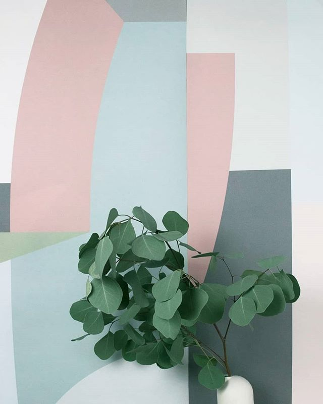 Soothing pastels ~ A detail of one of our wallcoverings. Available to order on our website, link in bio.  ________________________________________________ #modernwallpaper #designdetails #cleanlines #pastelgeometrics #eucalypus #bespokeatelier