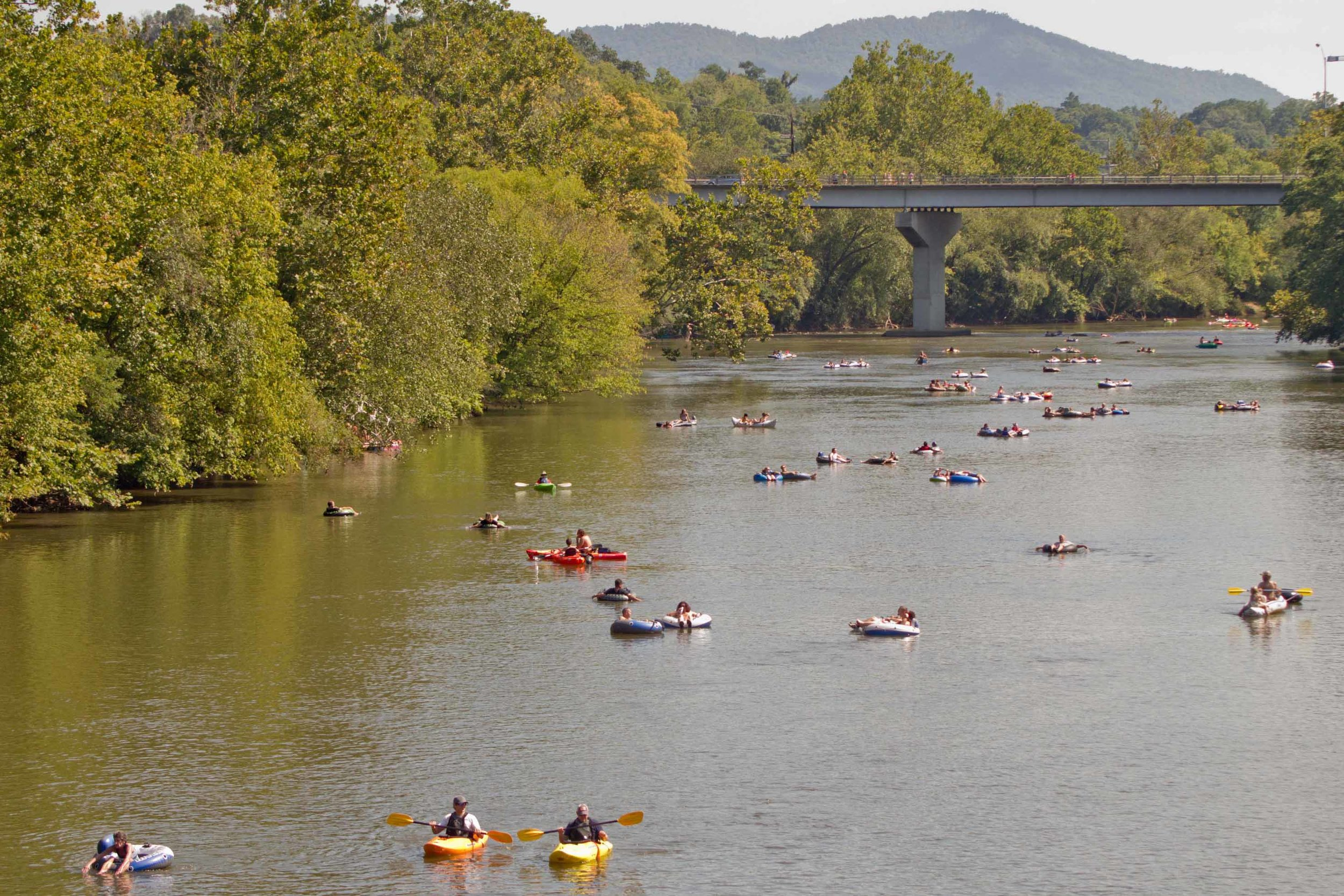 The French Broad River flows right through Asheville and floating it is a popular weekend activity. -