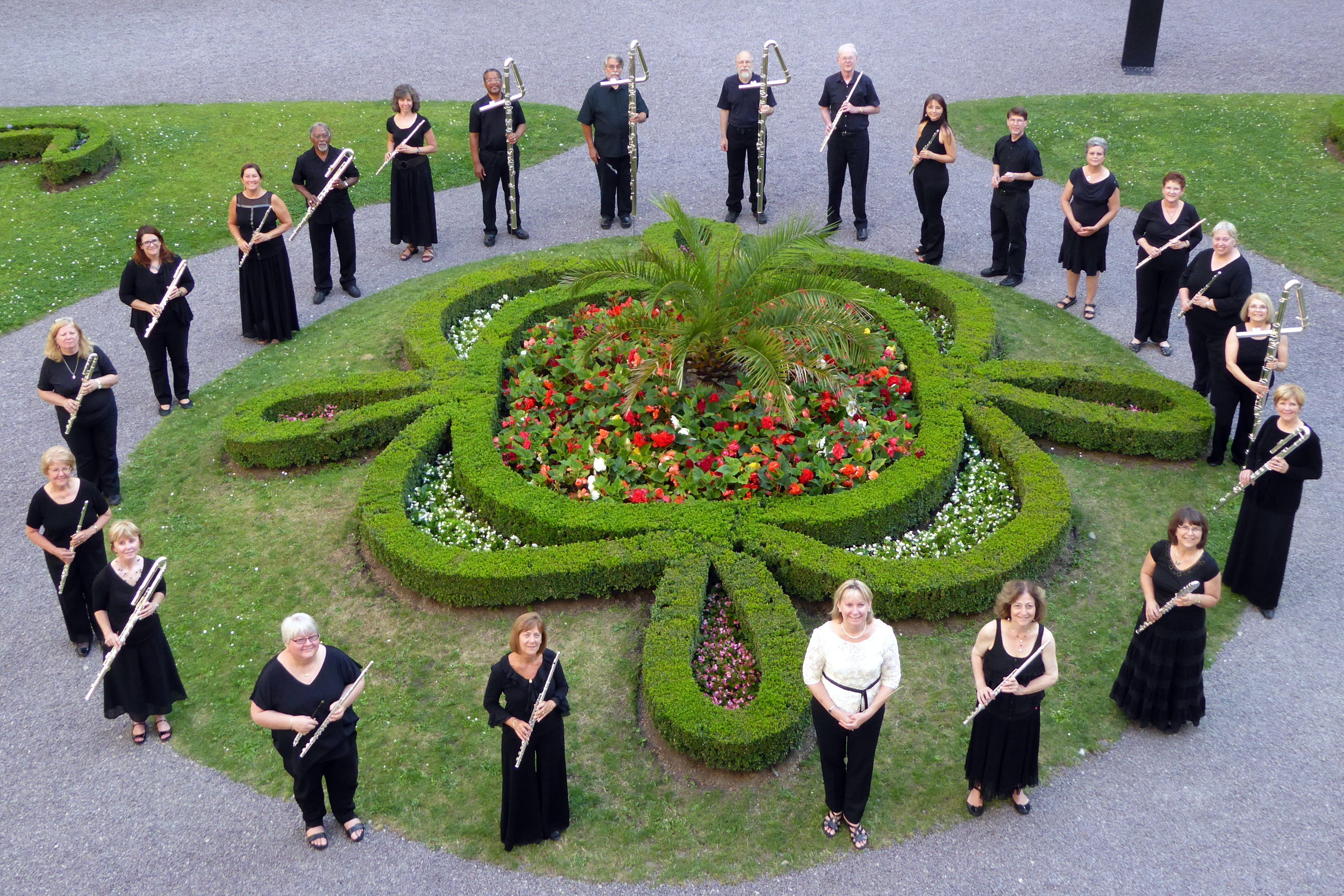 Metropolitan Flute Orchestra in one of the gardens of the Palace of the Archbishop's in Kromeriz, Czech Republic