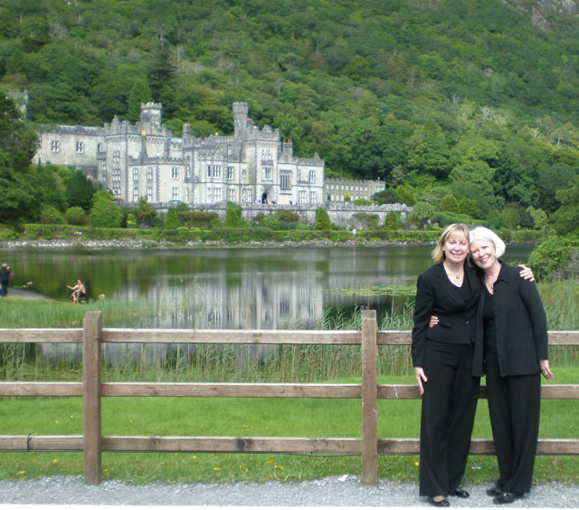 Sharyn Byer and Paige Long (Sub contra in G flutists) at Kylemore Abbey