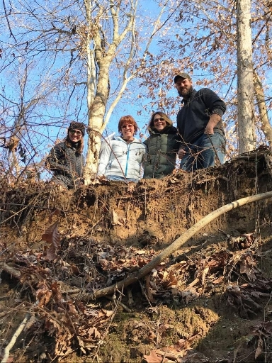 Pictured left to right at a restoration site are ShoreRivers staff members Emily Harris, Kim Righi, Kristin Junkin and Josh Thompson.