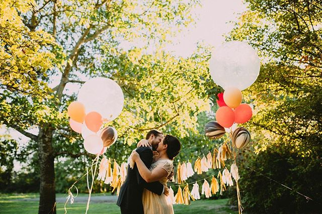 Two years ago I helped Giulia and Dylan get ready for their #wedding among #balloons and #trees. They did community #vows and it was magical.  #weddings #smallbiz #friends #outdoorwedding #womenowned