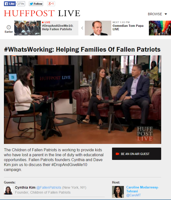 Huffington Post Live segment featuring Fallen Patriots founders David and Cynthia Kim.