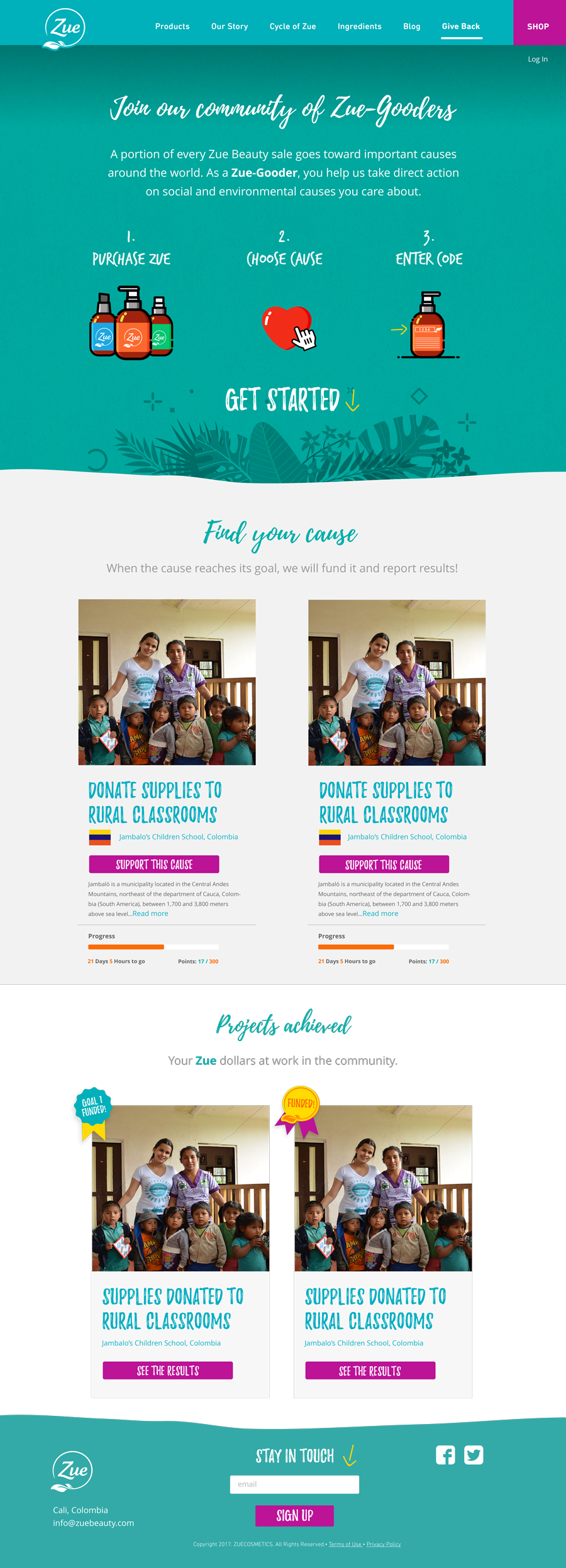 Give Back landing page