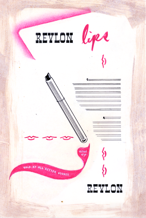 Layout comp for a Revlon ad designed by Marilyn.