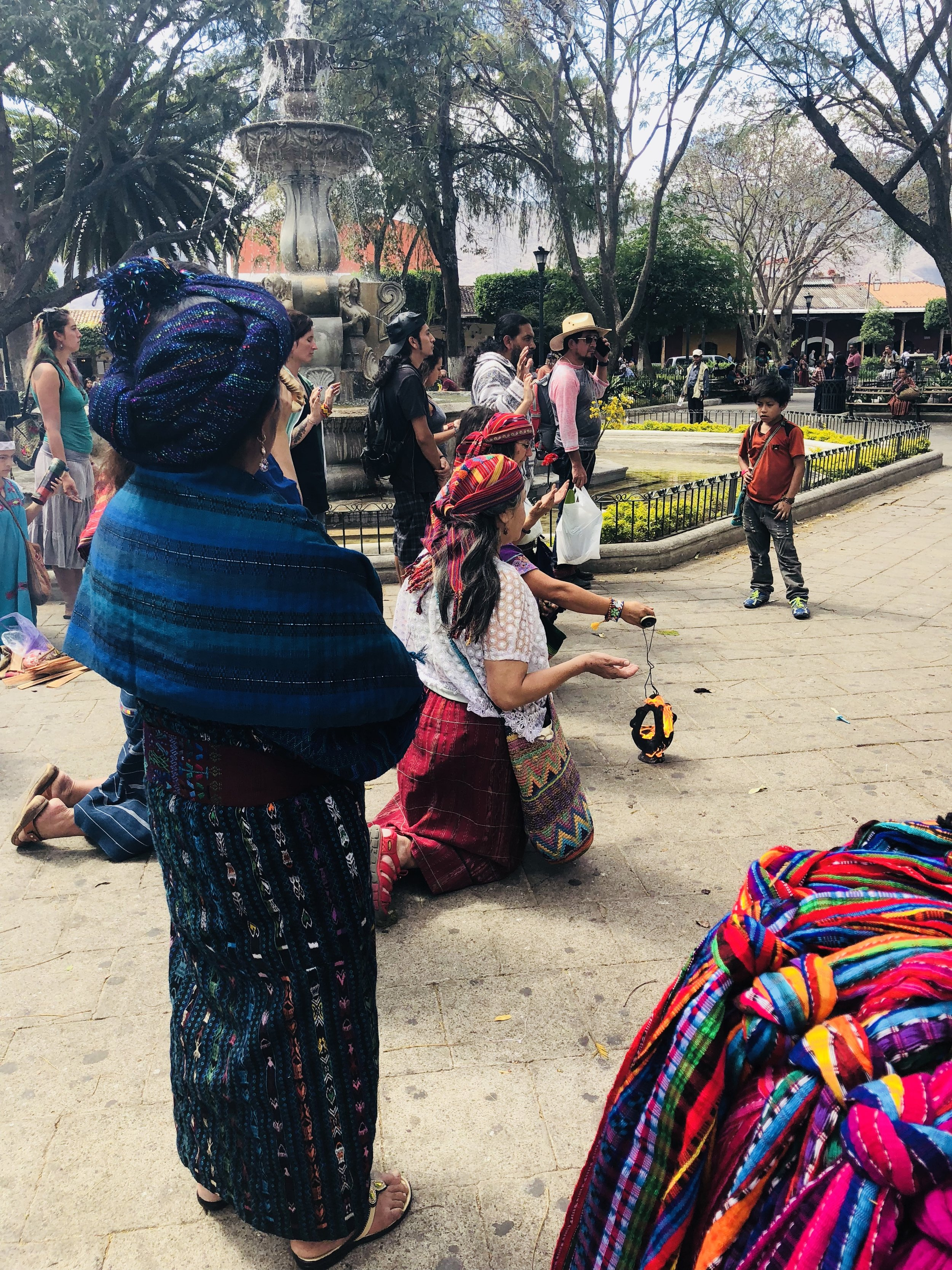 Mayan ceremony in Central Park, Antigua, Guatemala