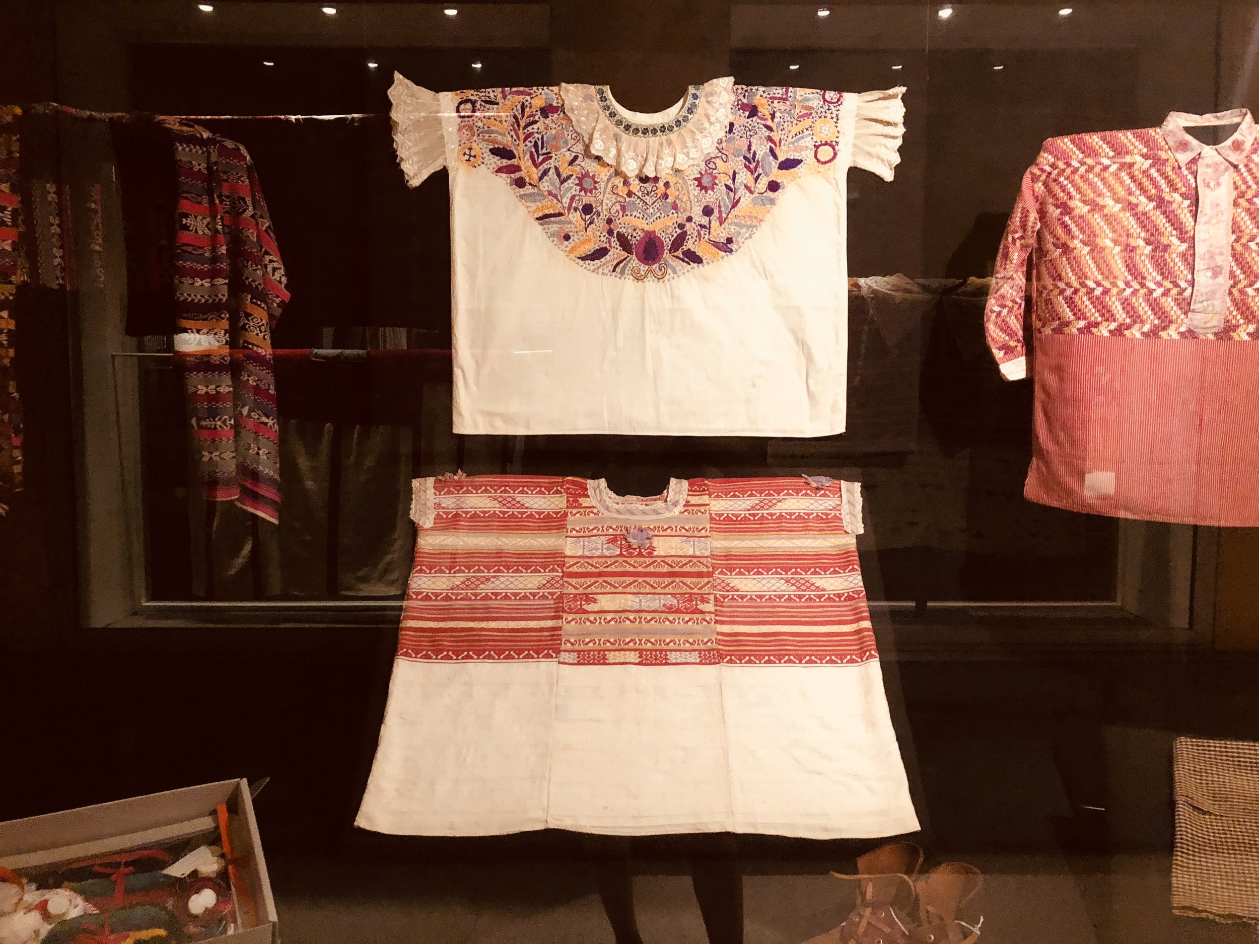 Huipils on display at the Ixchel Museum of Indigenous Textiles and Clothing in Guatemala City.