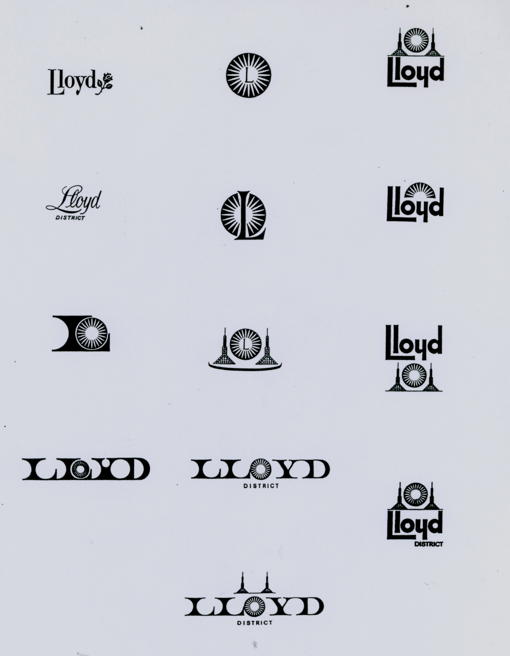 Logo options for the new Lloyd District in Portland
