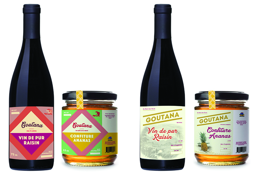 Proof 1: Three design options for red wine and pineapple jam.