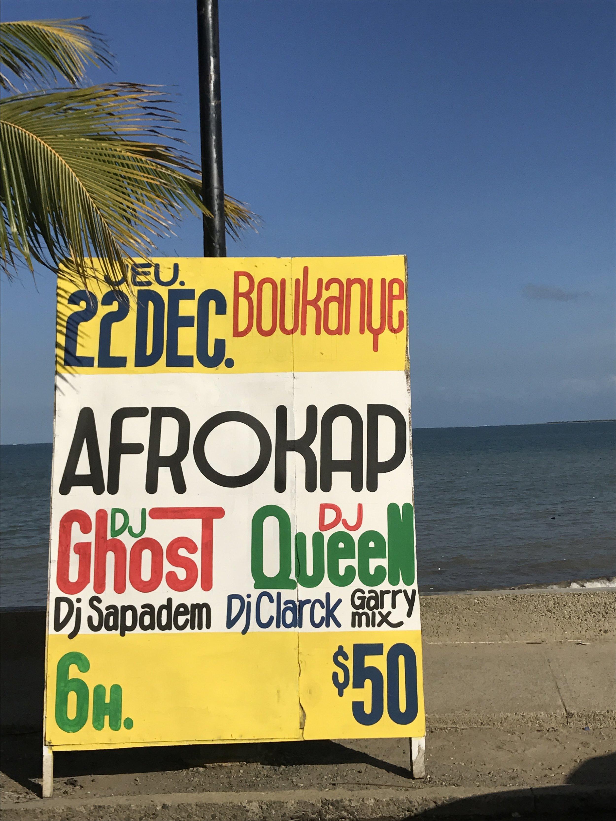 Signboards advertising performances at Boukanye.
